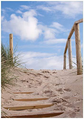 Wallario Wand-Bild 70 x 100 cm | Motiv: Auf der Holztreppe zum Strand | Direktdruck auf 5mm Starke Hartschaumplatte | leichtes Material | günstig