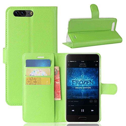 Tasche für Blackview P6 Hülle, Ycloud PU Kunstleder Ledertasche Flip Cover Wallet Case Handyhülle mit Stand Function Credit Card Slots Bookstyle Purse Design grün