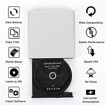 Usb 3.0 Externes Dvd Laufwerk Dvdcd Brenner Für Macbook, Macbook Pro, Macbook Air, Imac Os, Windows 7810vistaxp2003 (Weiß) 1