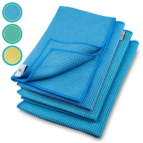 ELEXACLEAN Mikrofaser Trockentuch, Premium Waffeltuch (4 Stück, 60x40 cm, Blau) superweiche Qualität für Auto, Glas, Küche, Geschirr, Bad