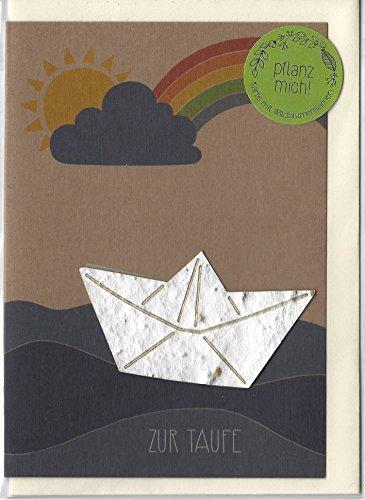 """Taufkarte \""""Boot\"""" - Kraftkarton-Grußkarte mit eingearbeiteten Blumensamen"""