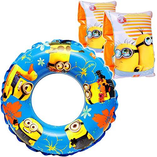 Unbekannt Set _ Schwimmflügel & Schwimmring - aufblasbar -  Minions  - 2 bis 6 Jahre - Schwimmärmel & Schwimmhilfe - für Jungen - Kinder Luft / Strandspielzeug - Bade..
