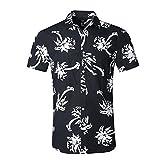 NUTEXROL Camicia Hawaiana per Uomo, Manica Corta, Stampa palmare, per L'Estate, Nero, s