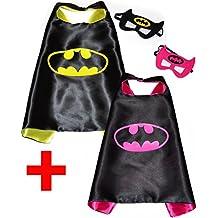 Batman, Batgirl (Kit 2 pièces) cou et masque + autocollant. Super Héros Costumes pour enfants Cape et masque - JOUETS POUR garçons et filles pour carnaval ou la devise de fêtes. - King Mungo - kmsc032
