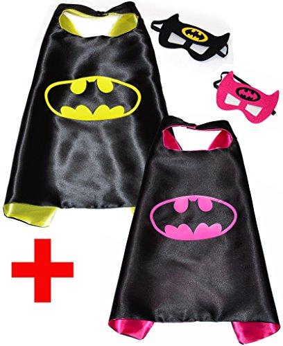 Batman + Batgirl (Set 2 Stück) Umhänge und Maske + Aufkleber! Superhelden-Kostüme für Kinder Cape und Maske - Spielsachen für Jungen und Mädchen für Fasching oder Motto-Partys! - King Mungo - KMSC032 (Batgirl Kostüm Set)