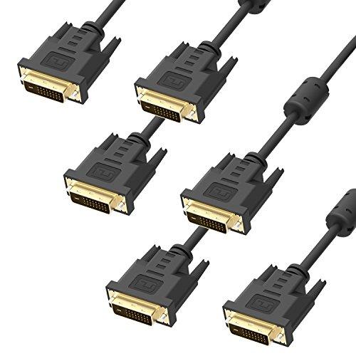ICZI Cavo DVI a DVI 3 Pack(Maschio su Maschio, Placcato in Oro, 24+1 Pin, 1080P, 1.8M, Single Link )