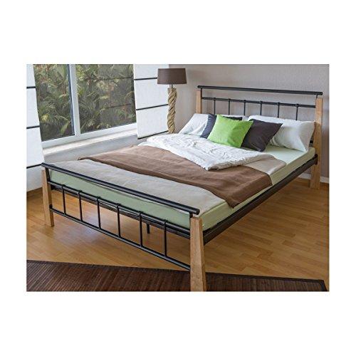 *Design metal lit double 160 x 200 cadre de lit lattes bois neuf prêt à acheter