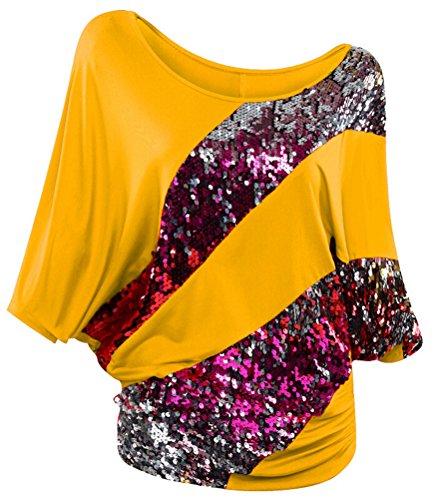 SMITHROAD Damen T-Shirt mit Pailletten Applikationen Fledermaus Shrit Top Kurzarm Dehnbar Rundhalsausschnitt Loose Fit 03 Gelb