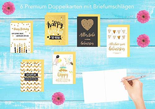 Set 6 exklusive Geburtstagskarten mit feiner Goldprägung und Umschlag. Glückwunschkarte Grusskarte zum Geburtstag. Geburtstagskarte Karte Mann Frau