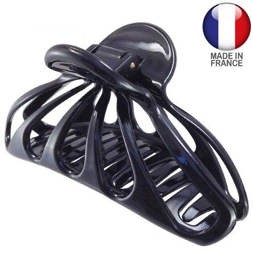Lot de 10 pinces françaises perforées pour cheveux 10 cm Noir