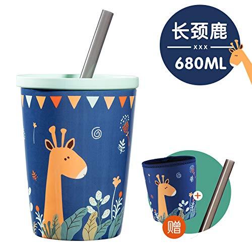 (Winpavo Becher Kaffeetassen Tassen Keramikschale Hause Frühstück Hafer Milchschale Männlich Stroh Paar Paar Becher, Giraffe/Geschenkschale Set + Strohlöffel + Strohhalm)