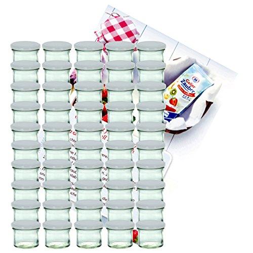 MamboCat 50er Set Sturzglas 125 ml Marmeladenglas Einmachglas Einweckglas to 66 weißer Deckel Incl. Diamant-Zucker Gelierzauber Rezeptheft