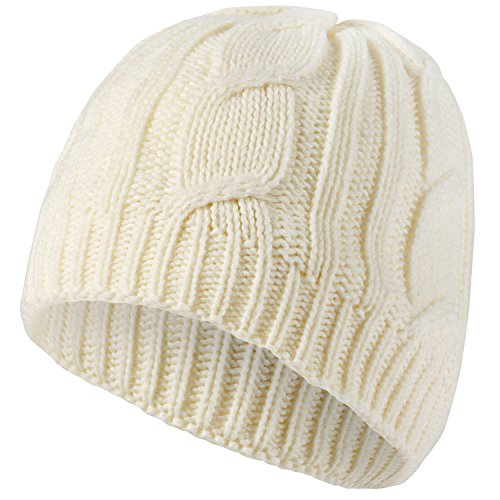 Sealskinz Hut Waterproof Cable Knit Beanie Hat, Cream, XXL, 1311414 (Cable Knit X-large)
