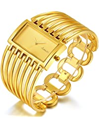 Women Luxury Gold Bangle Watch Fashion Stainless Automatic Watch Designer Cuff Bracelet Watches