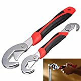 Premium Snap 'n Grip Auto Adjustable Universal Wrench (Set of 2, Black and Red) SG-354