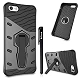 BtDuck iPhone SE Handyhülle Schwarz mit Stand Tough Armor Silikon TPU + PC Bumper Doppelschichter Outdoor Stoßfest Hülle 360 Grad Rüstung Armor Extrem Shockproof Heavy Duty Dual Layer Tough Cover