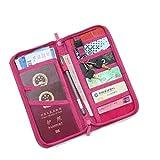 Porta Passaporto Portafogli da viaggio Titolare del Passaporto Copertura del Passaporto di Viaggio, rosa [Dimensione: 23.5x12.5x3cm]