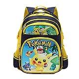 Mochila Pokemon Escolar, Mochila Pokemon Go Pikachu Grande Eevee para Infantil Niños y Niñas Unisex Bolsa Portátil para Mujeres Hombre Viaje Backpack para Estudiantes Adolescentes (B)