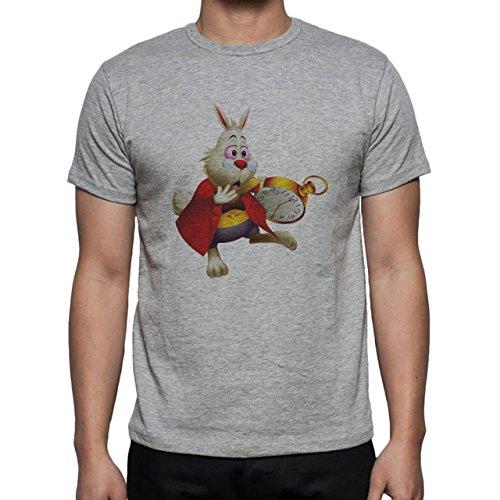 Rabbit With Clock Alice In The Wonderland Movie Poster Herren T-Shirt Grau