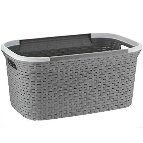 kela Wäschekorb Rio 40L aus Kunststoff in grau/weiß, Plastik, Grey/White, 35.5 x 35.5 x 55 cm