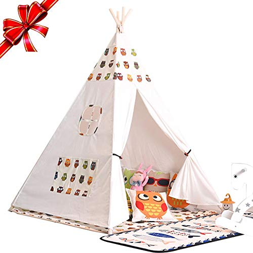 Wood.L Tienda de campaña India con diseño de Teepee para niñas y ni
