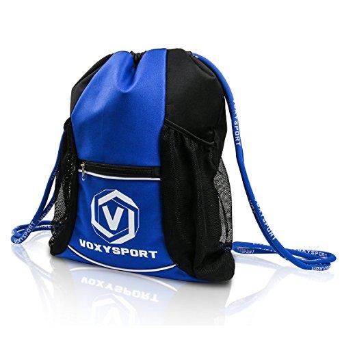 Fußball Rucksack mit Schuhfach Ballbeutel Kordelzug Sporttasche Multifunktion Training Tasche - für Schuhe Wasserflaschen Schützer Blau
