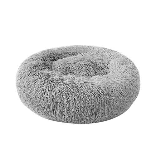 Decdeal Haustierbett für Katzen und Hunde Rundes Plüsch Hundebett Katzenbett in Doughnut-Form Farbe und Größe Optional