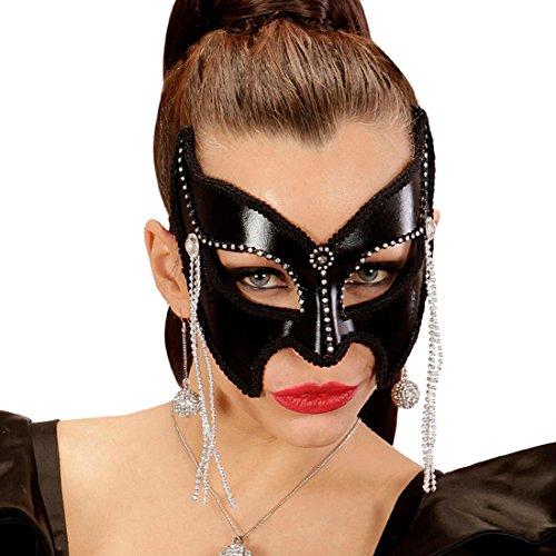 Maschera a metà viso nera con fronzoli | maschera domino catwoman | maschera da pipistrello sexy | trucco halloween