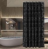 1/pc Schwarzer Druck Duschvorhang Badezimmer Wasserdicht Polyester Stoff 150x180cm (59.05x70.86-Zoll) , 150*180cm