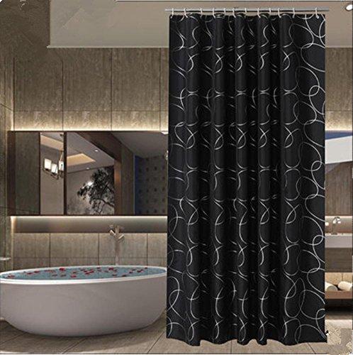 1/pc Schwarzer Druck Duschvorhang Badezimmer Wasserdicht Polyester Stoff 150x180cm (59.05x70.86-Zoll) , 200*180cm (Schwarz Stoff Dusche Vorhang Liner)