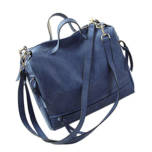 Transer Women Shoulder Bag Popular Girls Hand Bag Ladies Leather Handbag, Borsa a spalla donna Grey 30cm(L)*22(H)*15cm(W) Blue