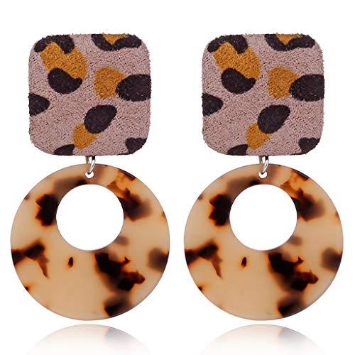 JAGETRADE Acryl Leopard Print Runde Kreis Ohrringe Tortoise Shell ()