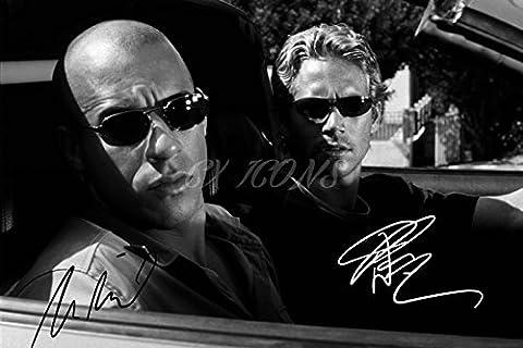 Poster de superbe qualité avec la photo et les autographes de Vin Diesel et Paul Walker –30,5x 20,3cm - Format A4
