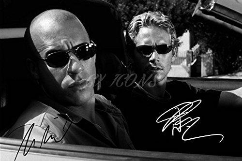 Vin Diesel und Paul Walker Signiert Foto Print-großartige Qualität-30,5x 20,3cm (A4)