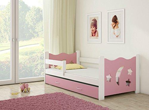 *Clamaro 'Sternenhimmel' Kinderbett Komplett Set 160 x 80 cm inkl. Matratze, Lattenrost und Bettkasten Unterbett Schublade auf Rollen, extra Rausfallschutz Seitenteil (verstellbar), Design: Rosa/Weiß*