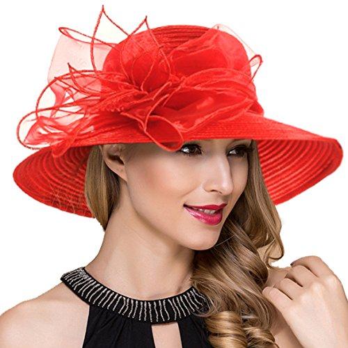 Ruphedy Damen Königliche Ascot Derby Cloche Hüte Britische Kirchen-Kleid-Tee-Party Eimer Hut S052 (Rot) Rote Hüte Vintage Hut