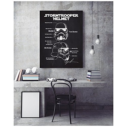 Inked und Star Wars sortiert Design Patent Art Poster Silk Screen Prints, 45,7cm W x 61cm L, Star Wars Charaktere: Stormtrooper helmet-chalkboard -