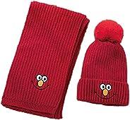 AMOYER 1set Bambini Caldo Maglia Cappello E Sciarpa Cerchio Cartoon Knit Beanie Sciarpa Del Fazzoletto Collo C