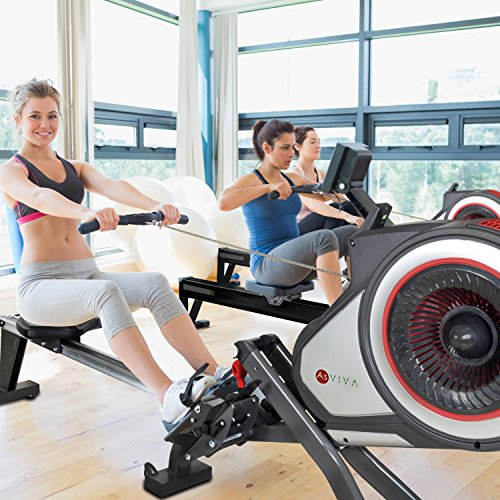 51ye9ieWthL. SS500  - AsVIVA RA14 Magnetic Rower Rowing Machine, Cardio with 10 kg Flywheel and Magnetic Brake with 8 Manual Resistance Levels, Multi-Function Computer with Heart Rate Monitor