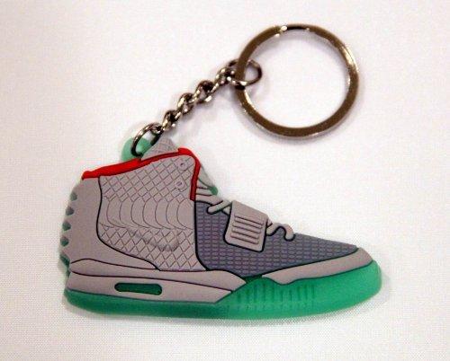 Nike Air Yeezy II Schlüsselanhänger (schwarz/grau/rot/Händen Grün)