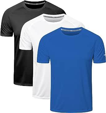 ZENGVEE 3 Pack Mens Running Shirts, Workout Tops Men Sport Fitness Shirts Gym Tops Men Crew Neck Breathable T-Shirt