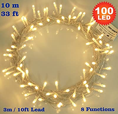 Fairy Lights 100 LED Warm White String Lights 10 meter of Clear Cable - Low Voltage Power Operated for Indoor and Outdoor Use - cheap UK light store.