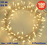 Fairy Lights 100 LED Warm White Indoor Christmas Tree LED Fairy Lights String Lights 8 Functions/ 10 Meters / 33 Ft Clear Cable - Mains/ Power Operated LED Fairy Lights - Ideal for Christmas Tree, Festive, Wedding/Birthday Party Decorations - INDOOR Use Only