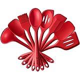 4YANG Espátula de silicona utensilios de cocina Set resistente al calor con Espátula calada, Cuchara, Cuchara con ranuras, Cucharon sopero, Espatula-cuchara, Esponula, Espátula, Brocha de cocina(8piezas)(rojo)