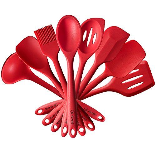 4YANG Cadeau Cuisine - Set de 8 Ustensiles de Cuisine en Silicone - Spatule, Louche, Pinceau, Cuillère à sauce et petite écumoire (rouge)