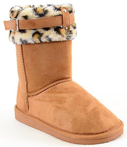 Vegan Wildleder Leopard Manschette Furry Schnalle Flach Warme Stiefel, Beige - A-Camel - Größe: 36,5 EU (M) (Wildleder Piraten Stiefel)