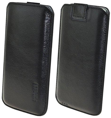 Suncase Original Leder Etui für Samsung Galaxy S7 Tasche Handytasche Ledertasche Schutzhülle Case Hülle (mit Rückzuglasche) schwarz