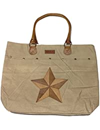 Urban Leisure Western Star Canvas Tote Bag 18X13X4 Inches With Leather Handles By Mdla By Raakha