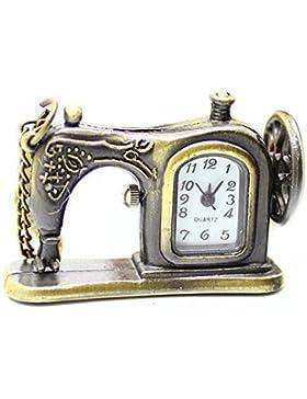 Hrph Retro antike Bronzelegierungs -Nähmaschine Design-Taschen-Uhr mit Halsketten -Ketten-bestes Geschenk