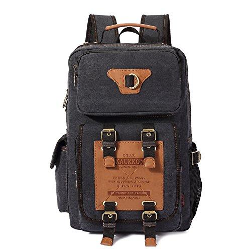 Canvas Vintage Rucksäcke, KAUKKO Damen Herren Schulrucksack Retro Stylisch Backpack für Outdoor Reisen Wandern mit Großer Kapazität (Schwarz-A)